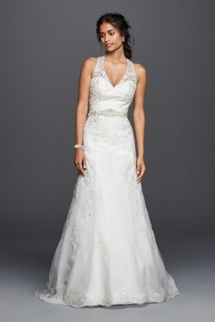 Petite Lace Wedding Dress with Halter Neckline | David's Bridal | Tuggl