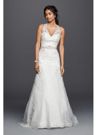 Petite lace wedding dress with halter neckline davids bridal for Petite lace wedding dresses