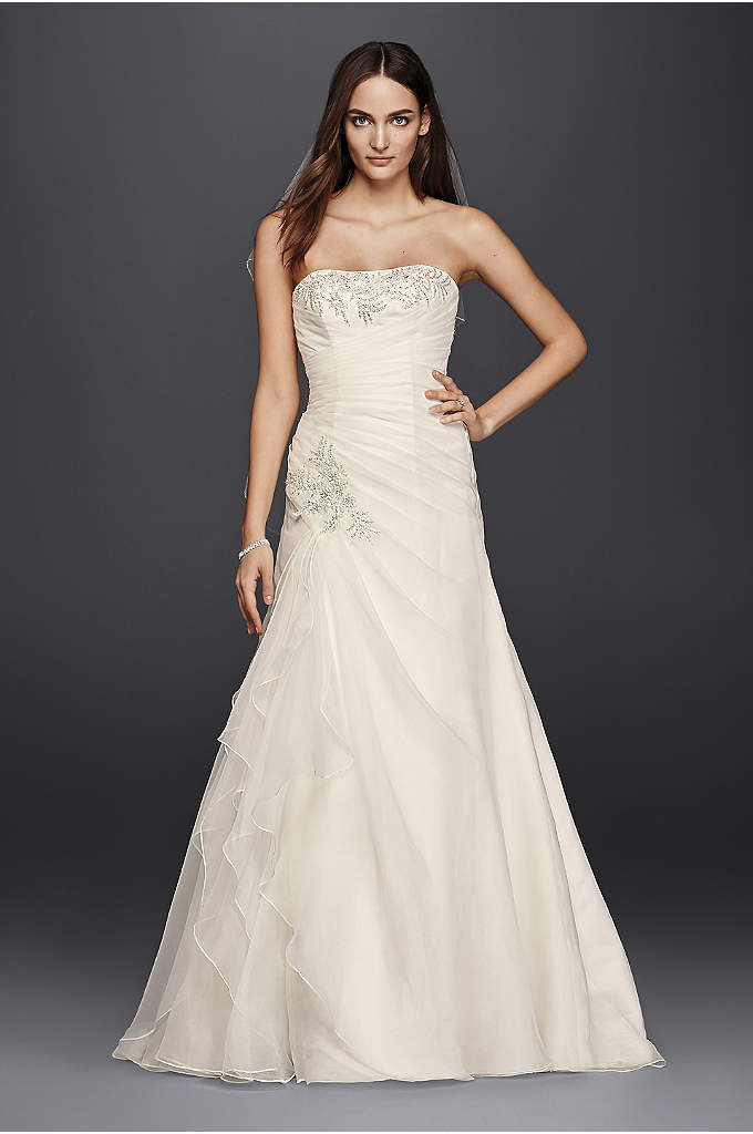Petite Ruched A-Line Wedding Dress with Appliques - This petite A-line wedding dress flatters in all