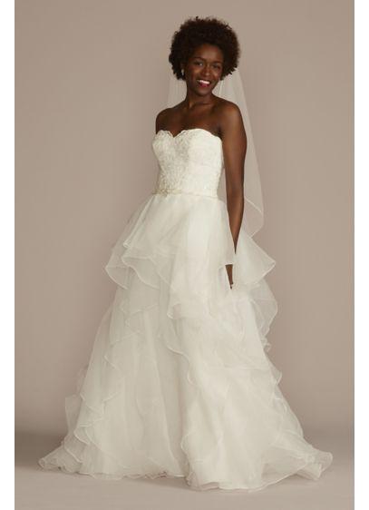 Lace and organza petite wedding ball gown davids bridal long ballgown formal wedding dress davids bridal collection junglespirit Choice Image
