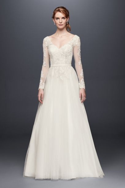 Petite Long Sleeve Wedding Dress With Low Back - Davids Bridal