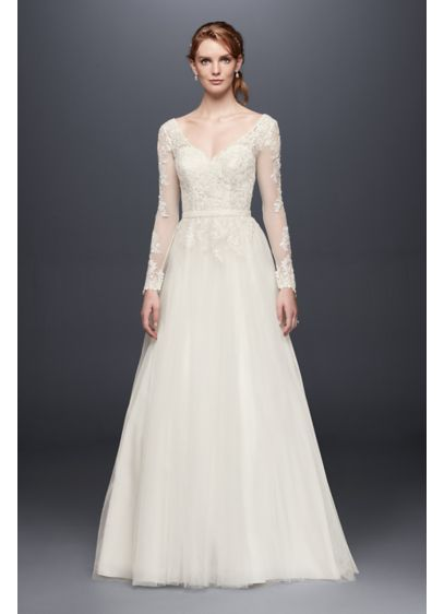 Petite long sleeve wedding dress with low back davids bridal for How to start a wedding dress shop