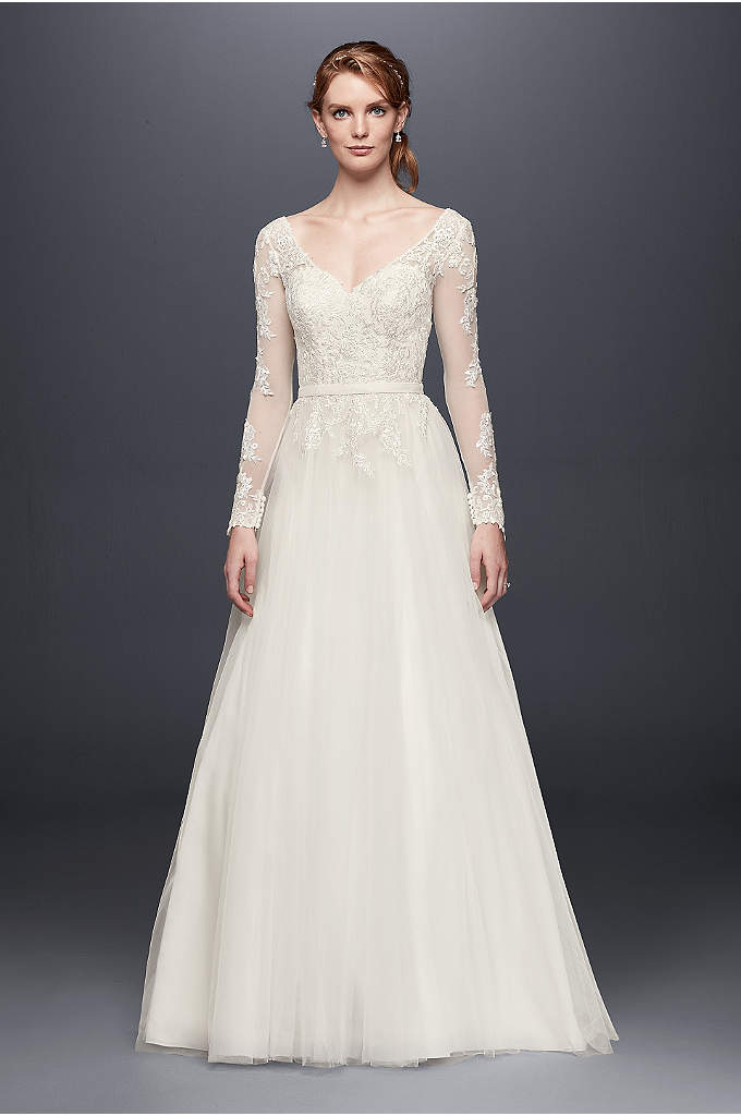 Petite Long Sleeve Wedding Dress With Low Back - Illusion mesh sleeves strike a lovely balance between