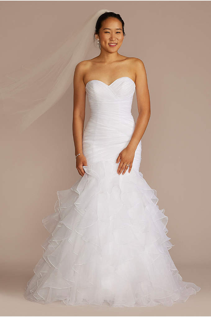 Petite Mermaid Wedding Dress with Ruffled Skirt - Precise pleats and romantic ruffles offer a contrast