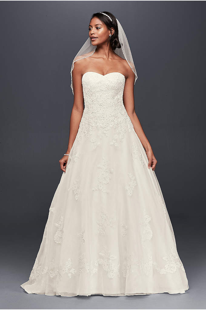 Organza Petite Wedding Dress with Beaded Appliques - Beaded lace appliques sparkle softly across the bodice
