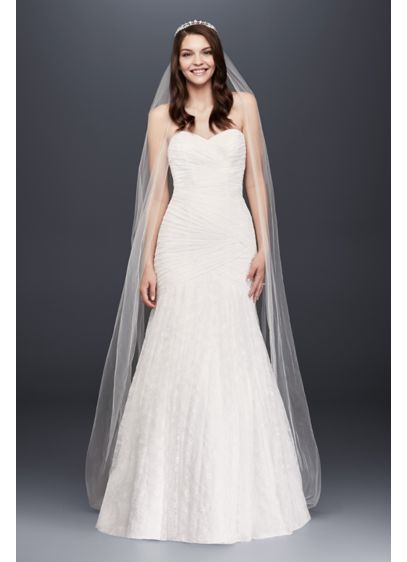 Allover lace petite mermaid wedding dress davids bridal for Real simple wedding dresses