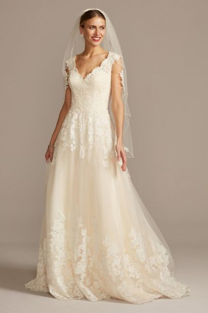 Scalloped Lace and Tulle Petite Wedding Dress