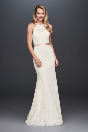 Illusion Lace Halter Sheath Petite Wedding Dress - This halter wedding gown's allover lace has a
