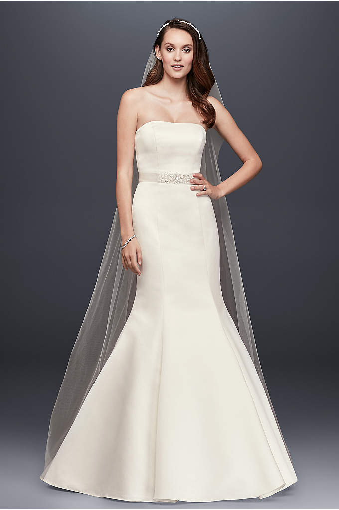 Petite Satin Wedding Dress with Beaded Sash - A sleek and sophisticated red carpet look. Strapless