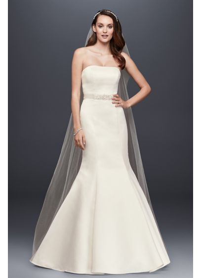Petite Satin Wedding Dress with Beaded Sash | David\'s Bridal