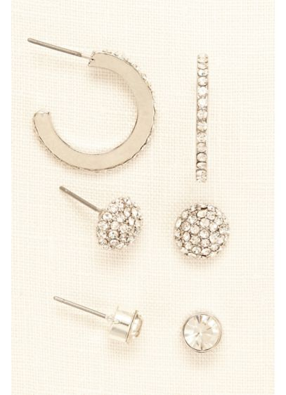 Trio Set of Pave Studs and Hoop Earrings - Wedding Accessories