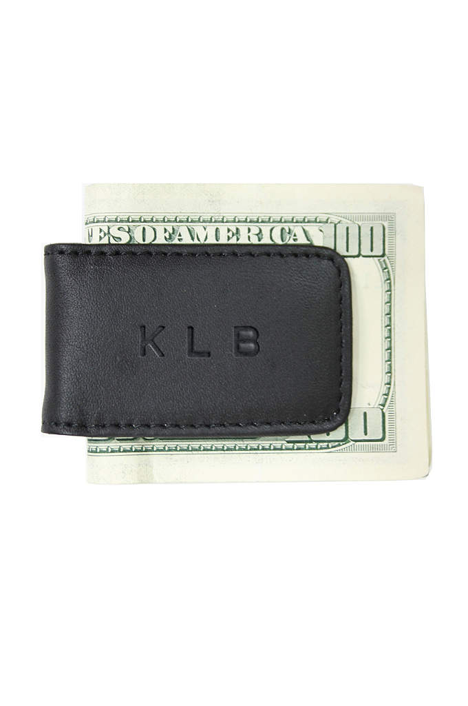 Personalized Leather Magnetic Money Clip - Clip your cash in style with this Top