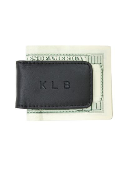 Black (Personalized Leather Magnetic Money Clip)