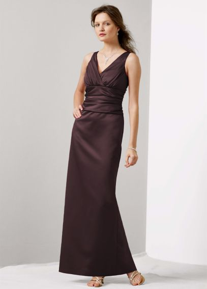 Sleeveless Satin V-Neck Dress with Slim Skirt 81047