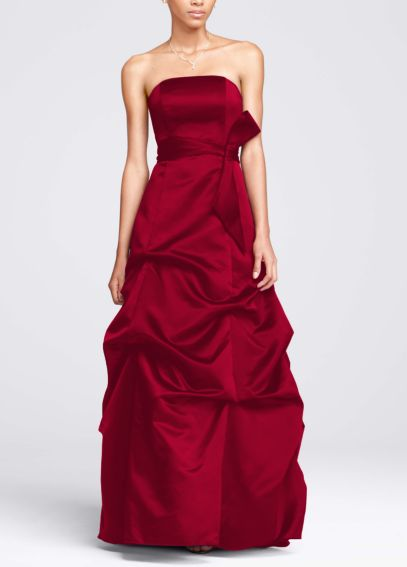 Strapless Satin Ballgown with Pick-up and Sash 81123