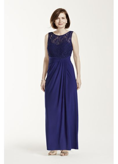 Sleeveless Jersey Dress with Illusion Lace Bodice 8114