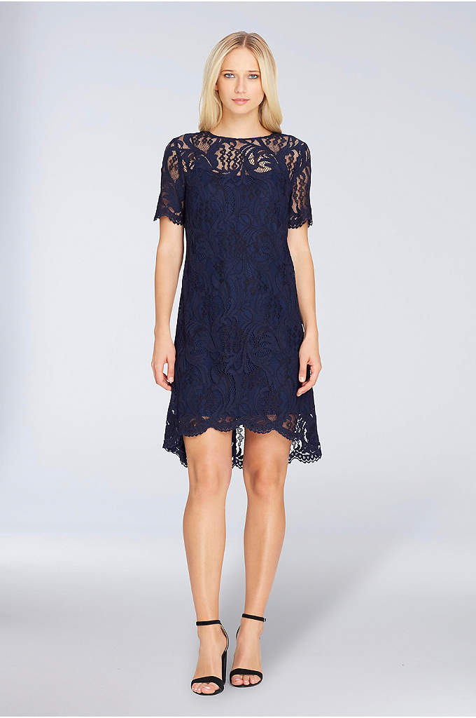 Short-Sleeve Lace Shift Dress with High-Low Hem - This classic lace shift dress is full of