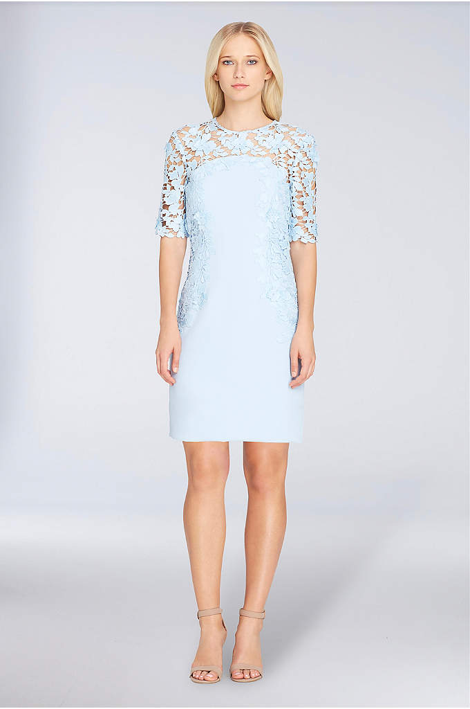 Illusion Lace and Crepe Short Sheath Dress - Modern lace defines the illusion neckline, elbow-length sleeves,