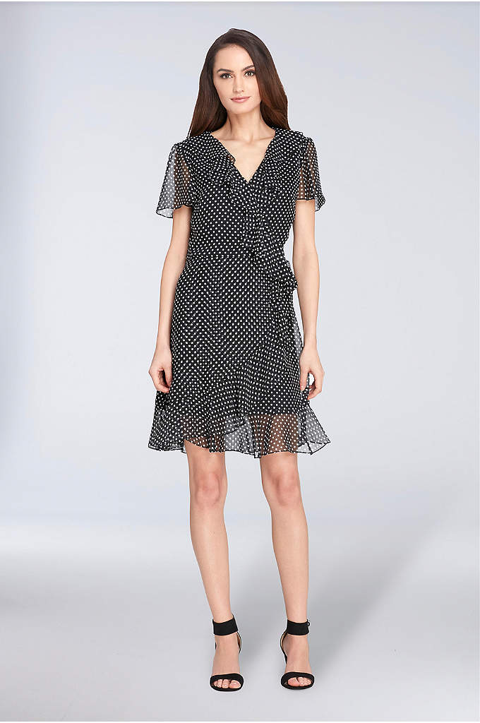 Short Polka-Dot Chiffon A-Line Dress
