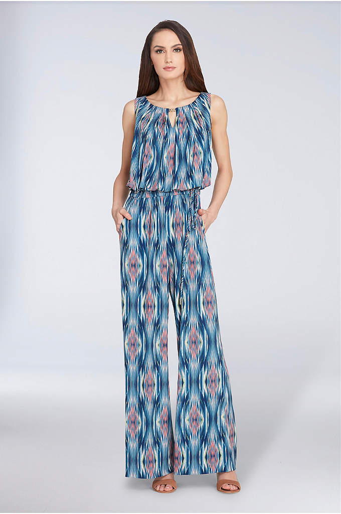 Sleeveless Jersey Jumpsuit with Keyhole Neckline - A bold print and keyhole neckline make this