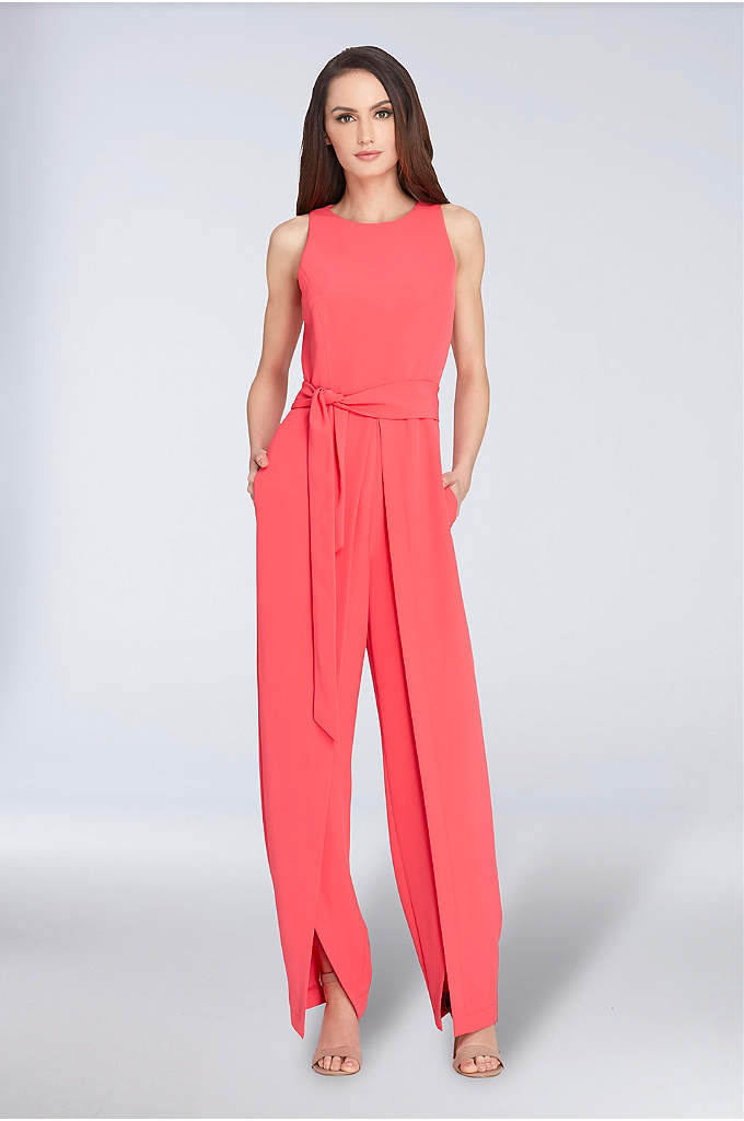 Sleeveless Crepe Jumpsuit with Tie Waist - A chic alternative to the classic cocktail dress,