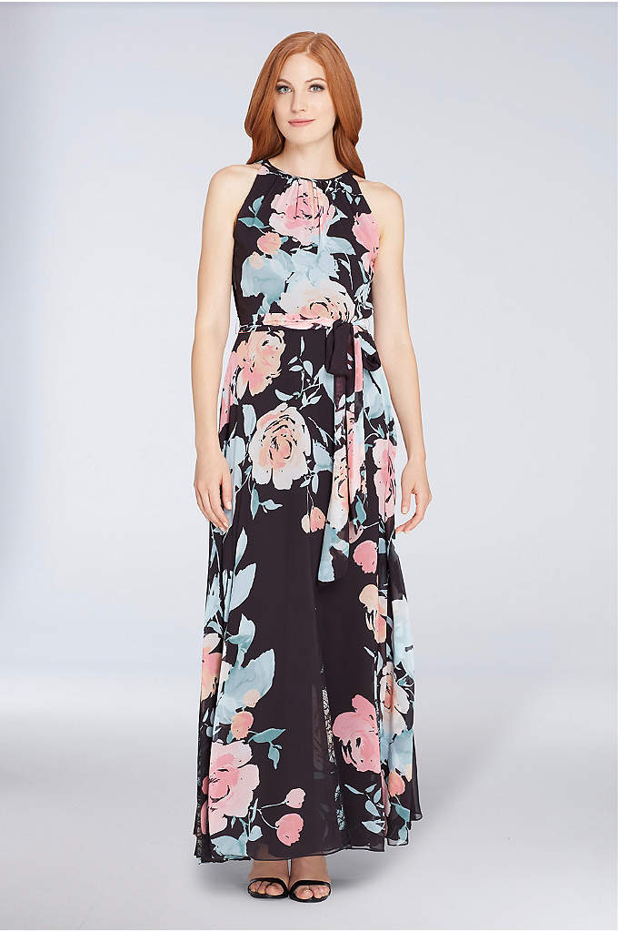 Sleeveless Floral Chiffon Gown with Tie Waist - A soft watercolor print and flowy chiffon form