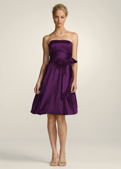 Strapless Flat Taffeta Bubble Hem Short Dress 81255