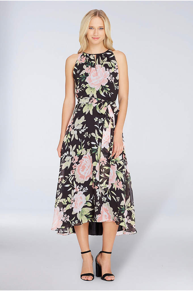 Floral Chiffon Dress with Keyhole and Tie Waist - Perfect for cocktail parties and outdoor weddings, this
