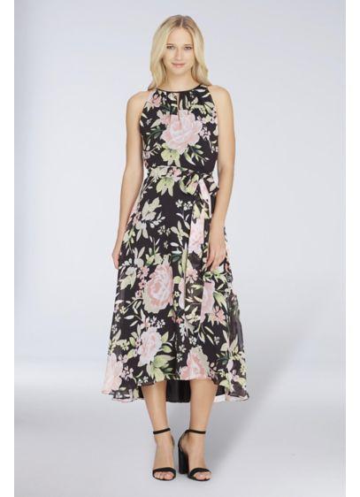 Tea Length Sheath Halter Formal Dresses Dress - Tahari ASL