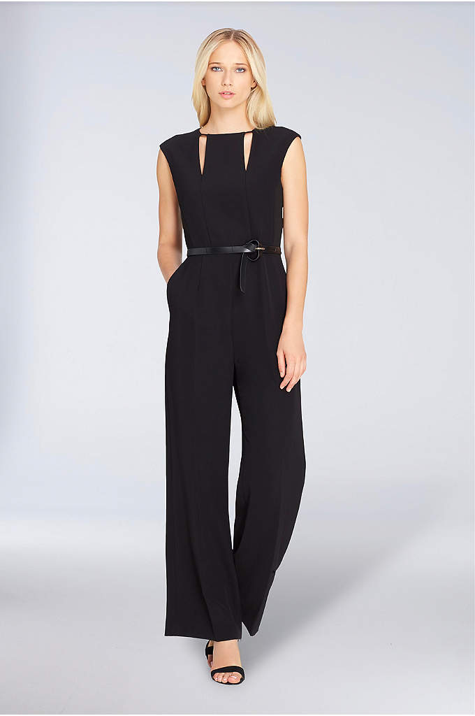 Cap-Sleeve Crepe Jumpsuit with Keyhole Neckline - Chic and easy to wear, this cap-sleeve crepe