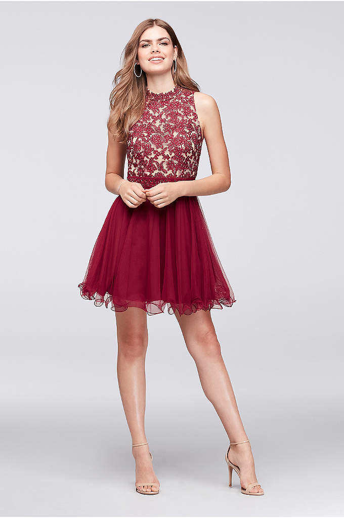 Embroidered Lace Mock-Neck Homecoming Dress - This party-ready dress features a beaded and embroidered