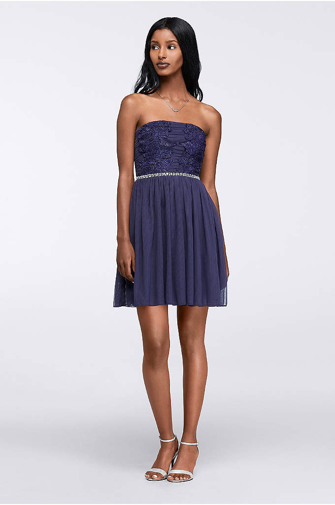 Lace Applique Short Strapless Homecoming Dress - A strapless neckline will never go out of