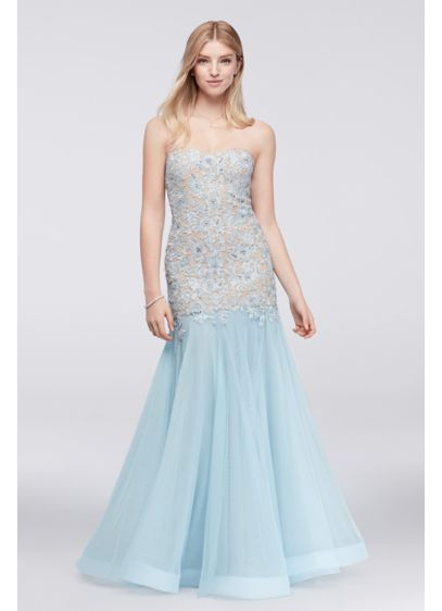 Corded lace mermaid dress with horsehair trim david 39 s bridal for Wedding dress with blue trim