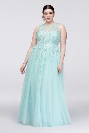 Aqua Plus Size Formal Dresses