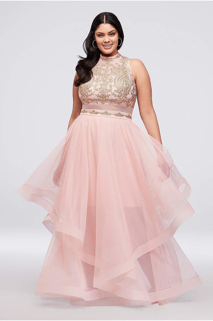 Horsehair Skirt Two-Piece Illusion Plus-Size Dress - The sheer, high-neck bodice of this two-piece dress