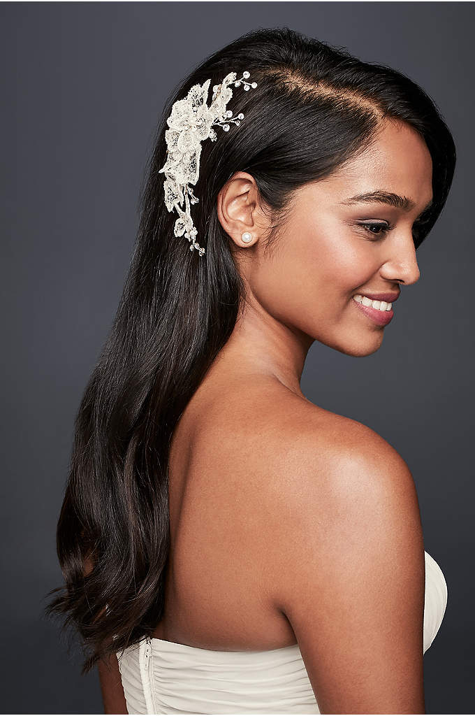Gossamer Lace Floral Clip with Crystals - Topped with crystal dew drops, airy webs of