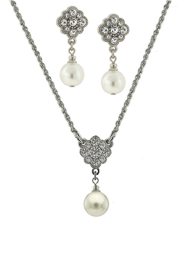 Czech Crystal and Pearl Floral Jewelry Set - A beautiful bridal earrings and necklace set featuring