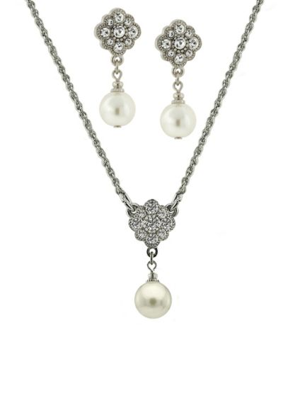 Czech Crystal and Pearl Floral Jewelry Set - Wedding Accessories