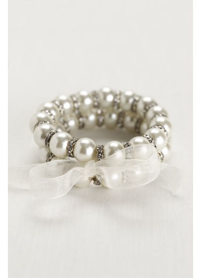 Ribbon Tied Pearl and Crystal Bead Bracelets - Wedding Accessories