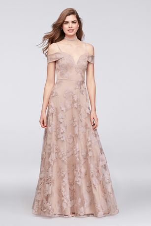 Embroidered Mesh Off-the-Shoulder A-Line Gown - Beautiful floral-embroidered mesh skims over an A-line silhouette,