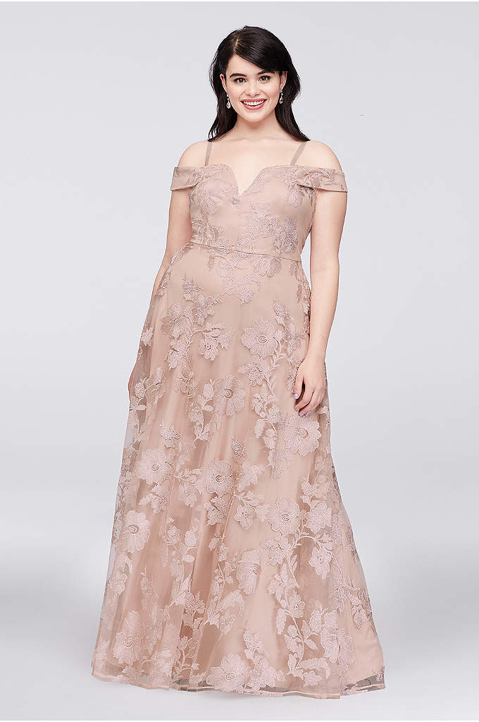Embroidered Mesh Off-the-Shoulder Plus Size Gown - Beautiful floral-embroidered mesh skims over a plus-size A-line