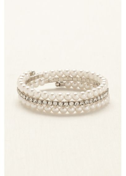 Pearl and Crystal Coil Wrap Bracelet 82898338R
