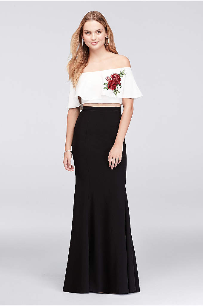 Off-The-Shoulder Flounced Crop Top and Skirt Set - Skip the corsage: this fun two-piece features a