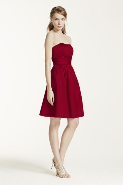 Cotton Sateen Short Strapless Ruched Dress | David's Bridal