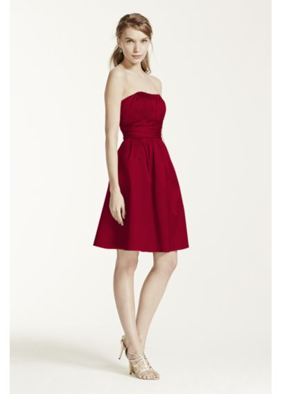 Cotton Sateen Short Strapless Ruched Dress  83312