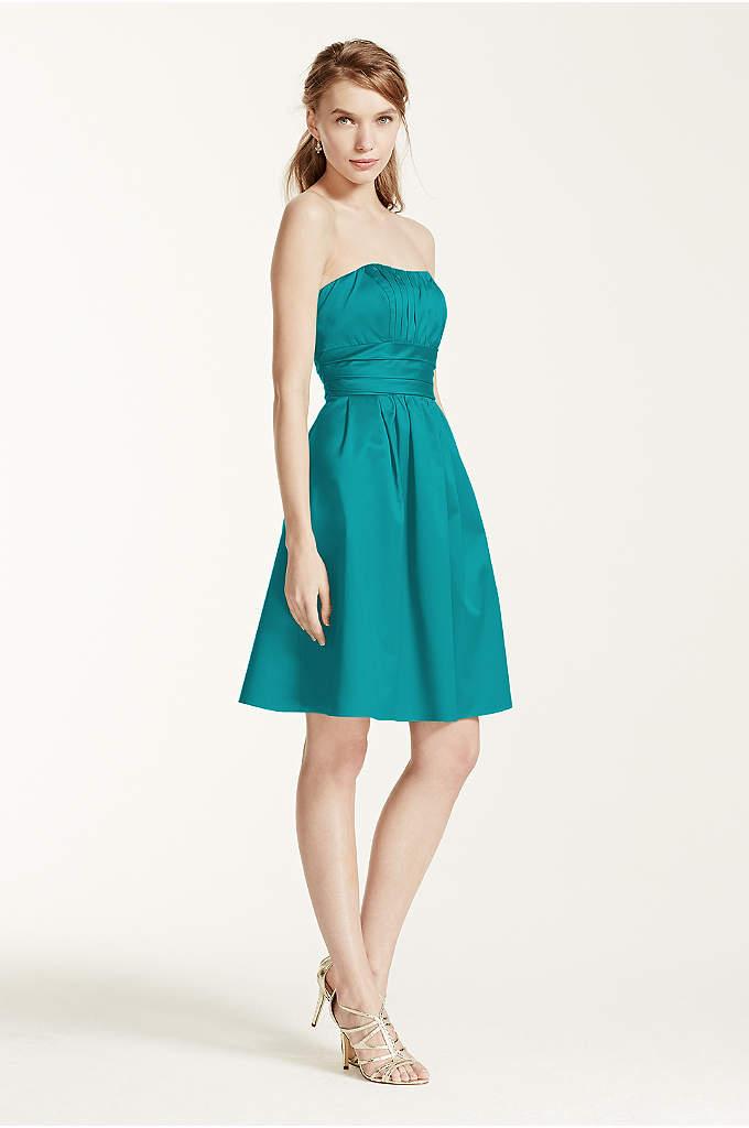 Cotton Sateen Short Strapless Ruched Dress - This short cotton sateen dress has flattering ruching