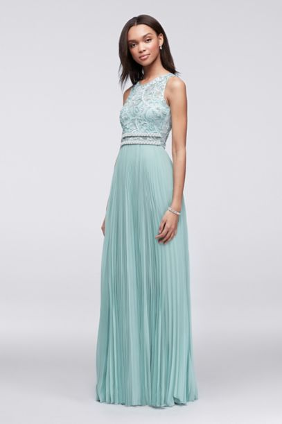Soutache Applique and Pleated Chiffon Dress - Davids Bridal
