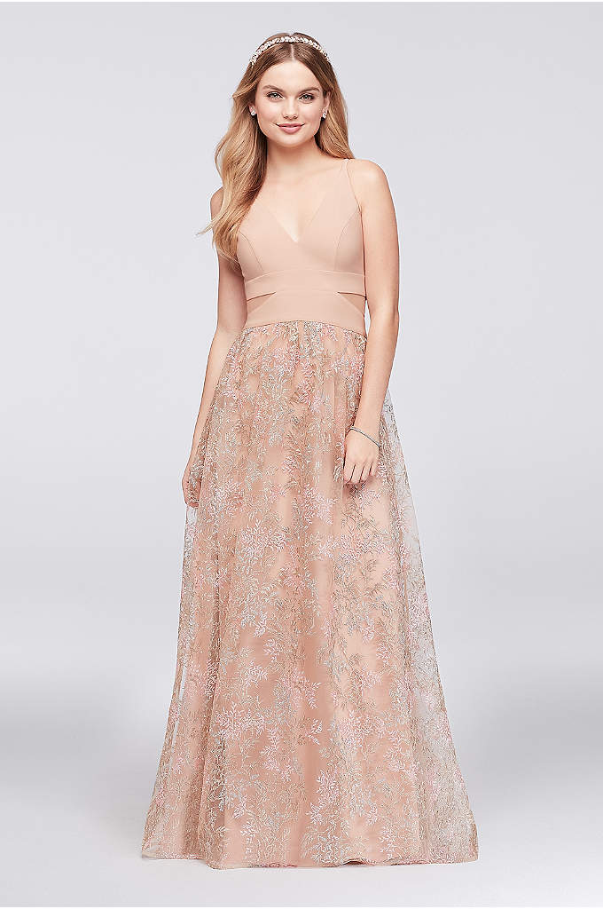 Jersey Ball Gown with Embroidered Mesh Skirt - Multi-colored pastel branches are embroidered on the voluminous