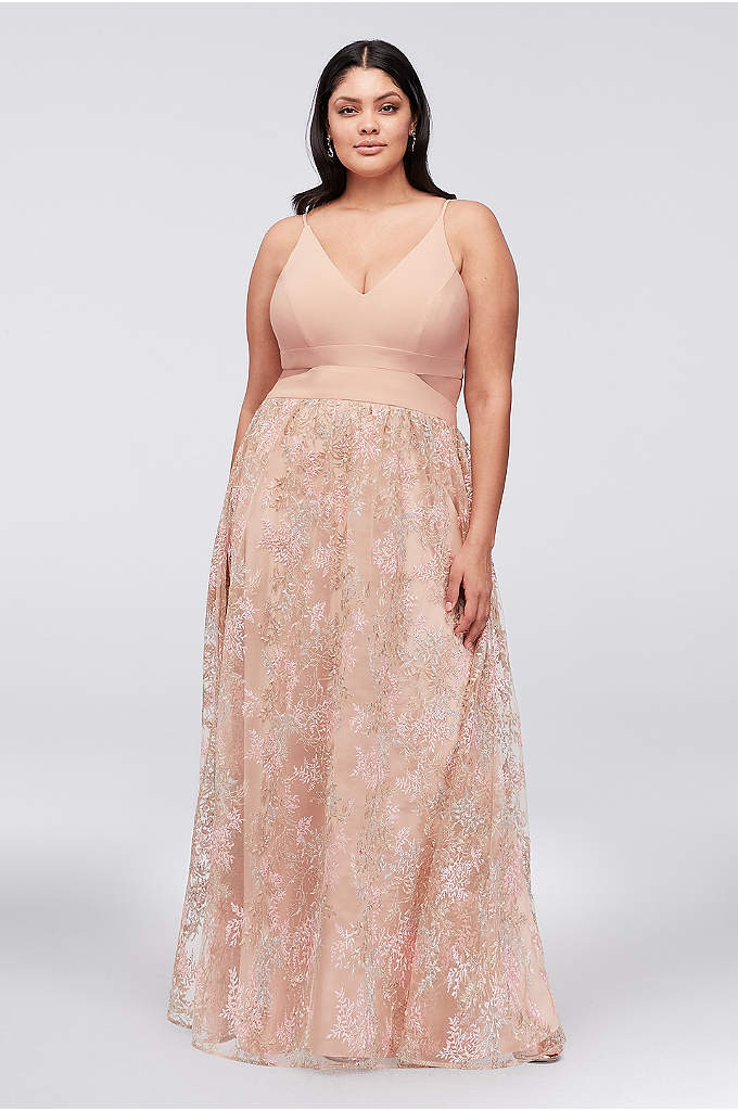 Jersey Plus Size Gown with Embroidered Mesh Skirt - Multi-colored pastel branches are embroidered on the voluminous