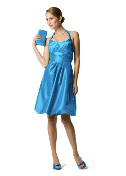 Short Taffeta Dress with Ruching and Bubble Skirt 83475